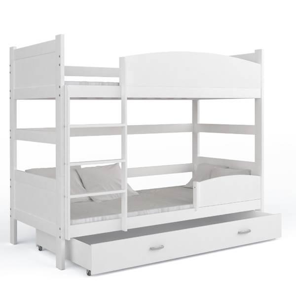 Łóżko piętrowe 2 osobowe - TWIST (białe) z materacami 184x80 cm, z szufladą
