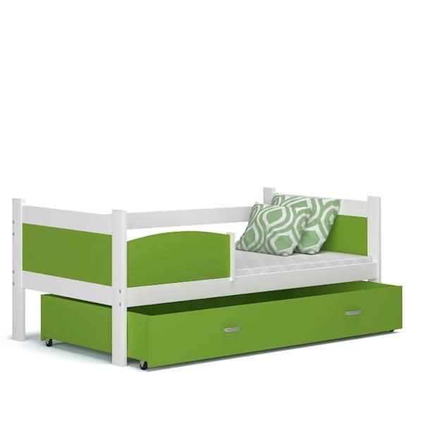Łóżko parterowe - TWIST (biały + zielony) z materacami 184x80 cm, z szufladą