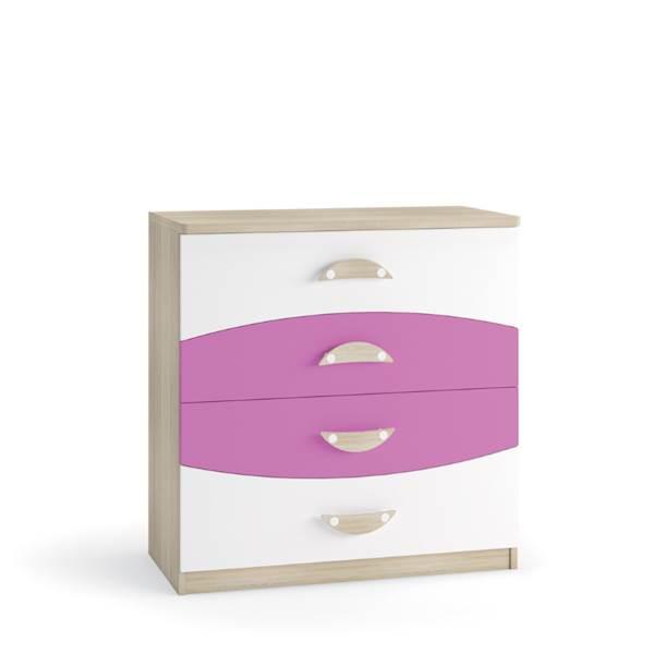 TENUS II - Komoda 4 szuflady - Dąb sonoma + krokus