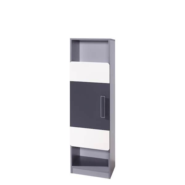 LIDO - Regał 1-drzwiowy - Grafit + popiel + biel