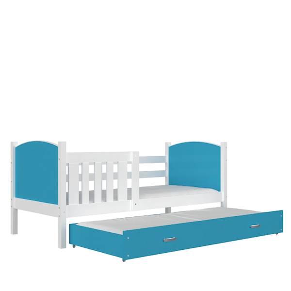 Tami - Łóżko 2 poziomowe z materacem 190x80 cm, z szufladą (biały + niebieski)