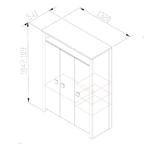 Marsylia ATB - Szafa 3 drzwiowa - dąb sonoma + biały