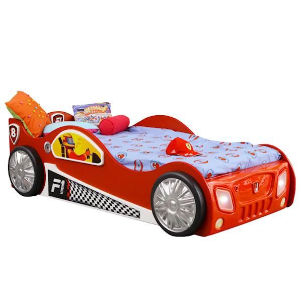 Łóżko dziecięce z materacem 190x90 cm - Auto Monza - czerwony
