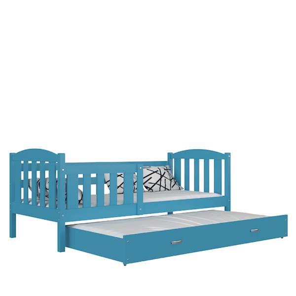 Kubuś - Łóżko 2 poziomowe z materacami 190x80 cm, z szufladą (niebieskie)