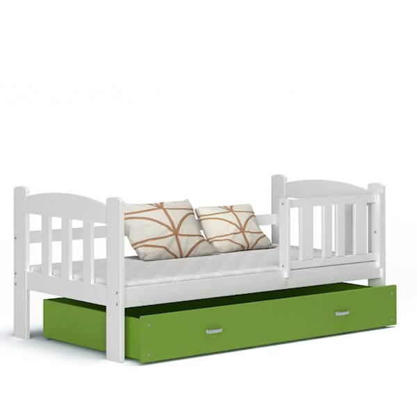 Tedi - Łóżko parterowe z materacem 160x70 cm, z szufladą (biały + zielony)