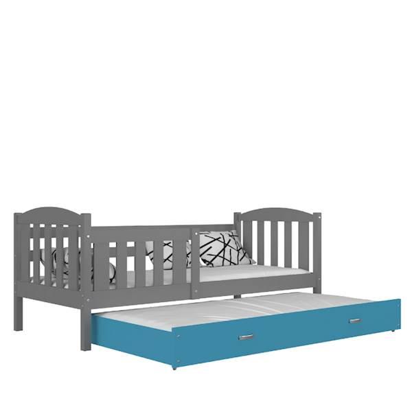 Kubuś - Łóżko 2 poziomowe z materacami 190x80 cm, z szufladą (szary + niebieski)