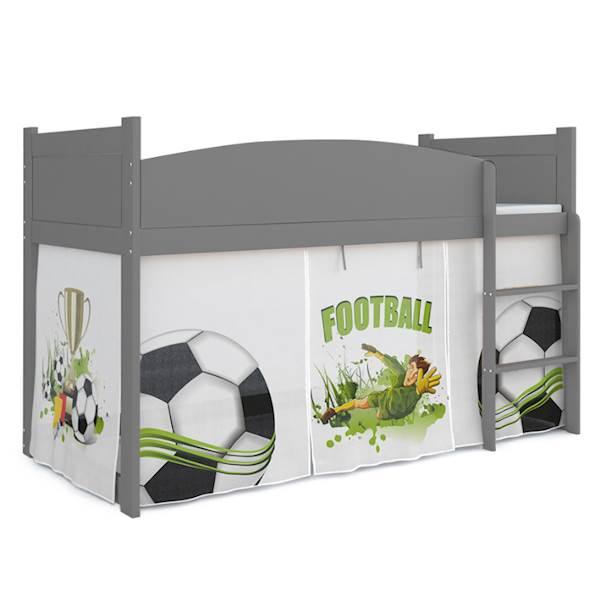 Łóżko Antresola z materacem 184x80 cm, wzór: Piłkarz (szary, szary)