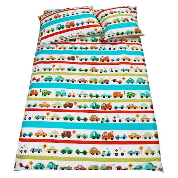 Pościel dziecięca zestaw na łóżko 160x80, 7-elementowa - Auta, samochody