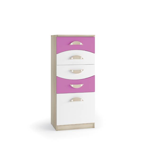 TENUS II - Komoda 5 szuflad - Dąb sonoma + krokus