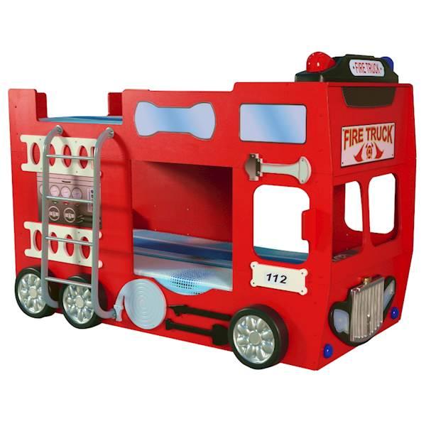 Łóżko piętrowe straż pożarna - Bed Fire Truck double z materacami 190x90cm