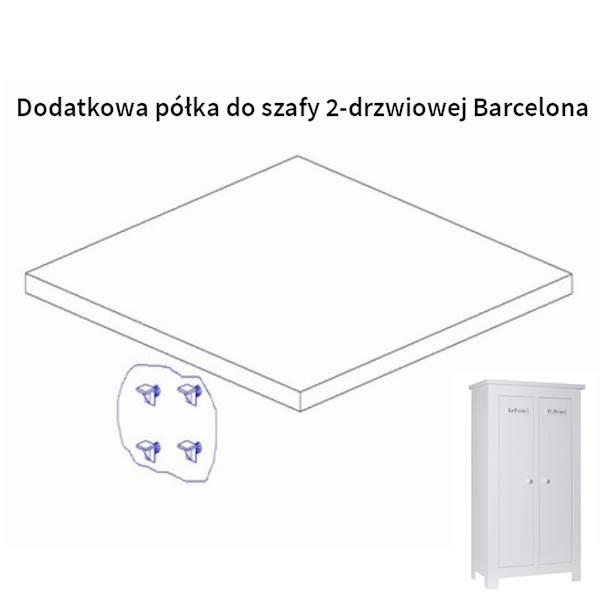 Barcelona Pinio - Dodatkowa półka do szafy 2 drzwiowej - kolor biały