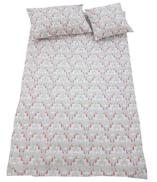 Pościel dziecięca zestaw na łóżko 160x80, 7-elementowa - Jednorożce