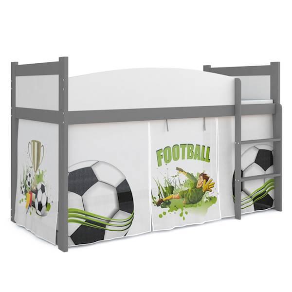 Łóżko Antresola z materacem 184x80 cm, wzór: Piłkarz (biel, szary)