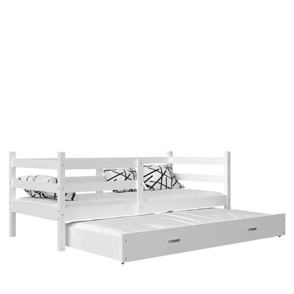 Jacek - Łóżko 2 poziomowe z materacem 190x80 cm, z szufladą (białe)
