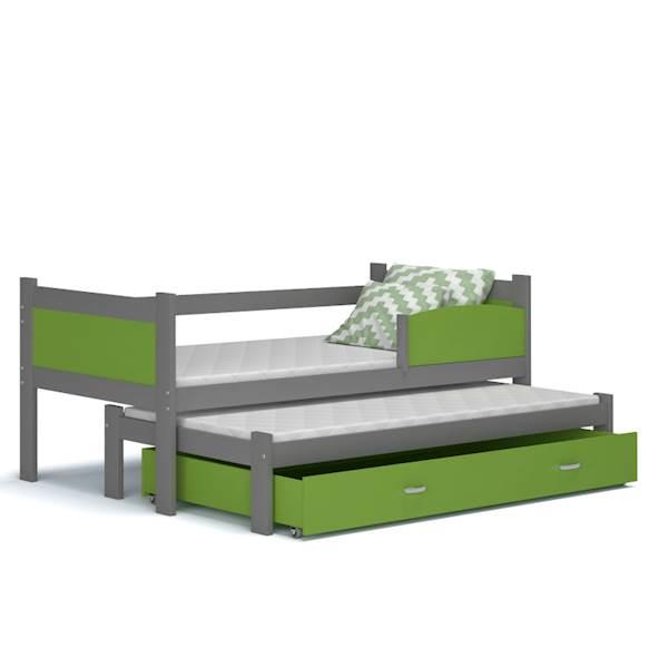 Łóżko 2 poziomowe - TWIST (szary + zielony) z materacami 184x80 cm, z szufladą