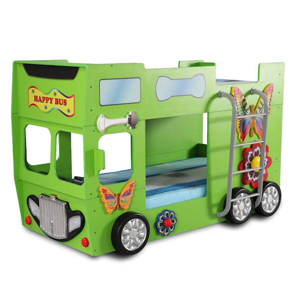 Łóżko piętrowe dziecięce z materacami 190x90 cm - Happy Bus Autobus - zielony