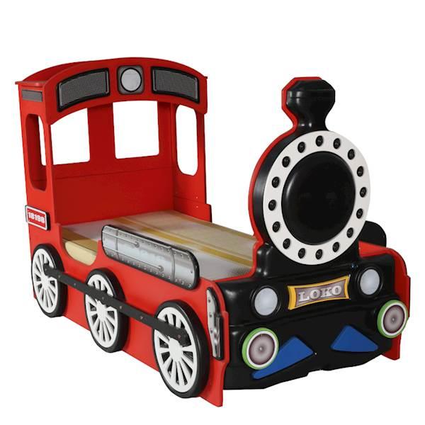 Łóżko dziecięce z materacem 190x90 cm - Pociąg, Lokomotywa - czerwony
