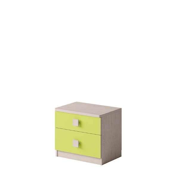 TENUS - Stolik nocny - Dąb santana + zielony