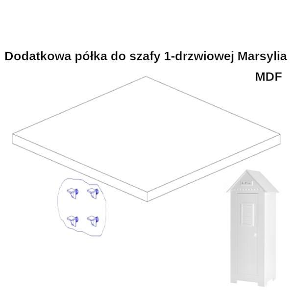 Marsylia MDF Pinio - Dodatkowa półka do szafy 1 drzwiowej - kolor biały