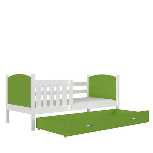 Tami - Łóżko parterowe z materacem 190x80 cm, z szufladą (biały + zielony)