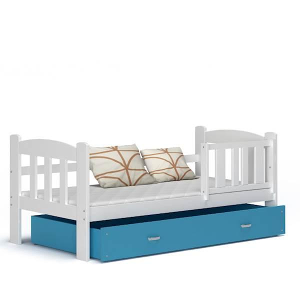 Tedi - Łóżko parterowe z materacem 160x70 cm, z szufladą (biały + niebieski)