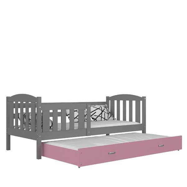 Kubuś - Łóżko 2 poziomowe z materacami 190x80 cm, z szufladą (szary + różowy)