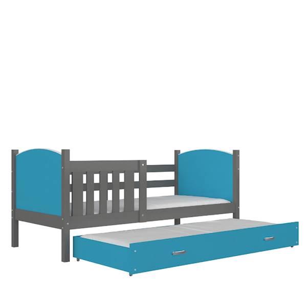 Tami - Łóżko 2 poziomowe z materacem 190x80 cm, z szufladą (szary + niebieski)