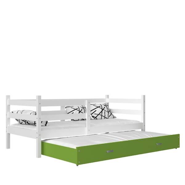 Jacek - Łóżko 2 poziomowe z materacem 190x80 cm, z szufladą (biały + zielony)