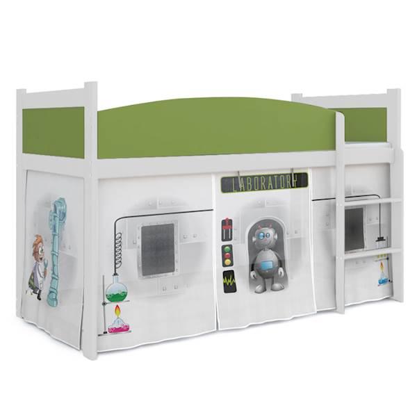 Łóżko Antresola z materacem 184x80 cm, wzór: Laboratorium (zieleń, biel)