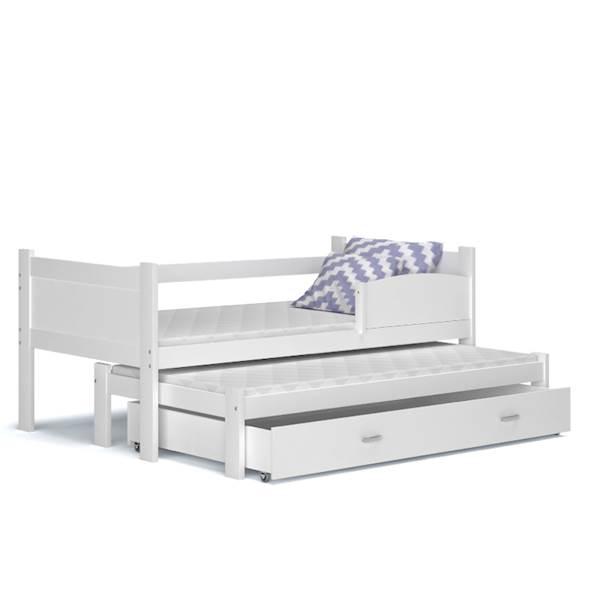 Łóżko 2 poziomowe - TWIST (białe) z materacami 184x80 cm, z szufladą