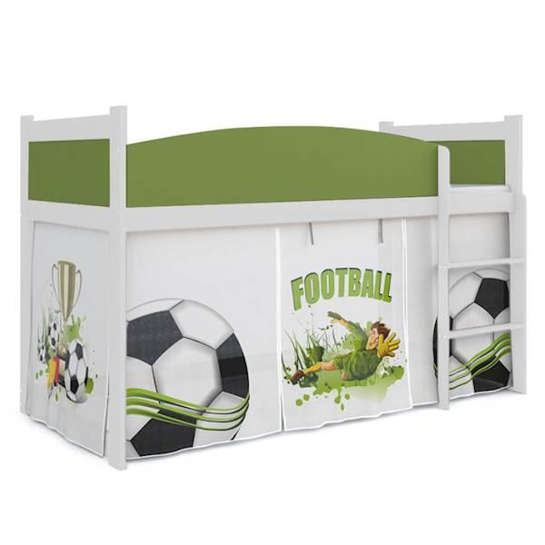 Łóżko Antresola z materacem 184x80 cm, wzór: Piłkarz (zieleń, biel)