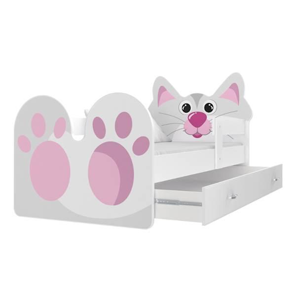 Łóżko Kotek z materacem 160x80, z szufladą - wzór 02