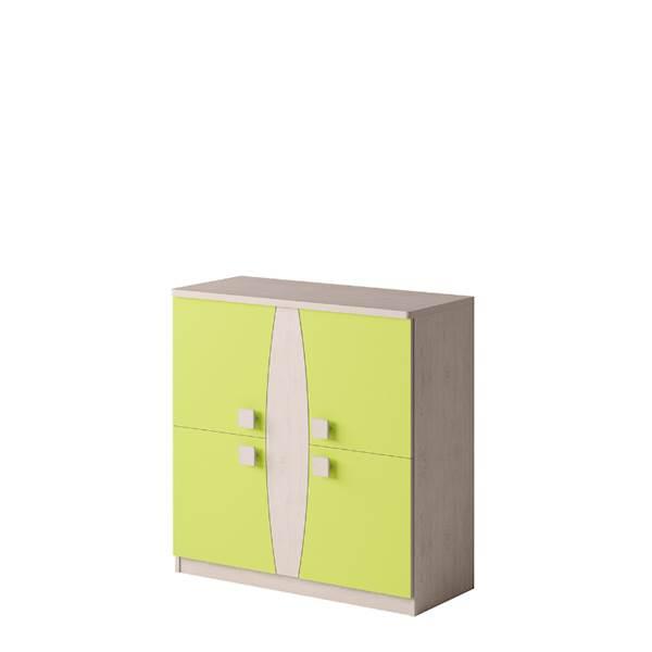 TENUS - Komoda 4-drzwiowa - Dąb santana + zielony