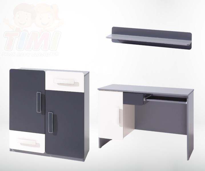 Zestaw Mebli 6 - LIDO - Grafit (biurko, komoda, półka)