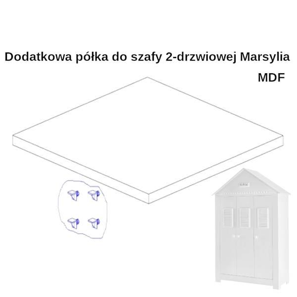 Marsylia MDF - Dodatkowa półka do szafy 3 drzwiowej - kolor biały