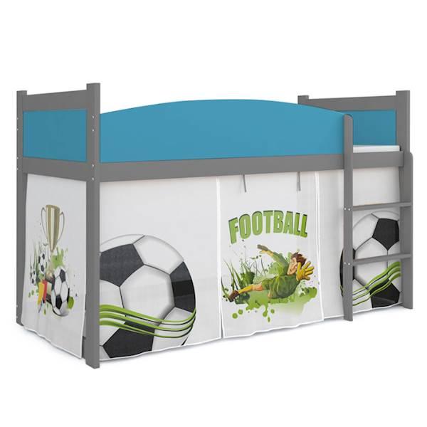 Łóżko Antresola z materacem 184x80 cm, wzór: Piłkarz (błękit, szary)