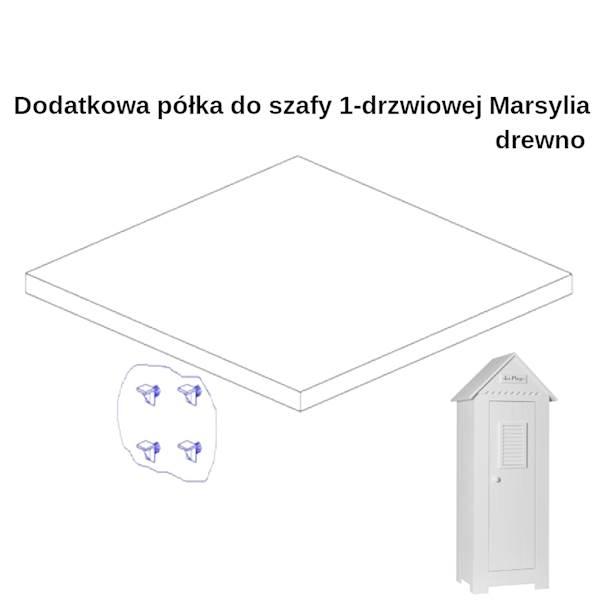 Marsylia drewno - Dodatkowa półka do szafy 1 drzwiowej - kolor biały