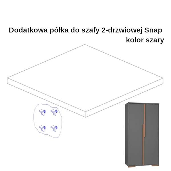Snap Pinio - Dodatkowa półka do szafy 2 drzwiowej - ciemny szary