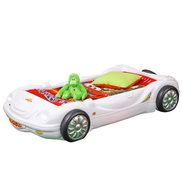 Łóżko dziecięce z materacem 140x70 cm - Samochodzik Bobo - biały