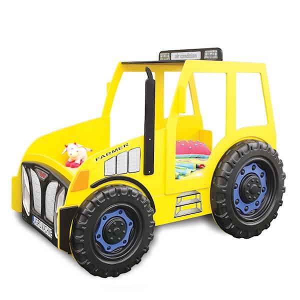 Łóżko dziecięce z materacem 180x90 cm - Traktor żółty
