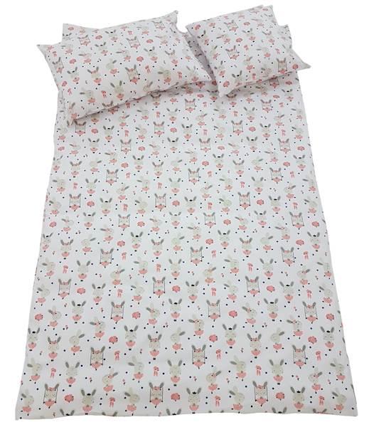 Pościel dziecięca zestaw na łóżko 160x80, 7-elementowa - Króliczki