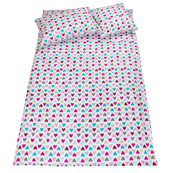 Pościel dziecięca zestaw na łóżko 160x80, 7-elementowa - Serduszka