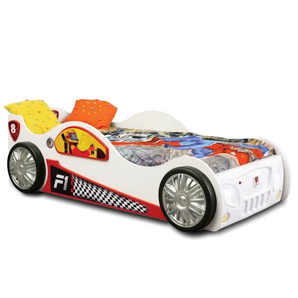 Łóżko dziecięce z materacem 190x90 cm - Auto Monza - biały