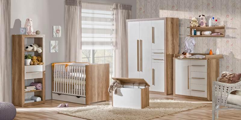 Terra 2 - Zestaw meble niemowlęce (Szafa + łóżeczko 120x60 + regał + komoda + kuferek + półka)