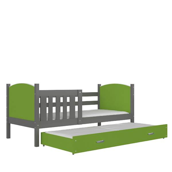 Tami - Łóżko 2 poziomowe z materacem 190x80 cm, z szufladą (szary + zielony)