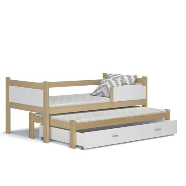 Łóżko 2 poziomowe - TWIST (sosna + biały) z materacami 184x80 cm, z szufladą