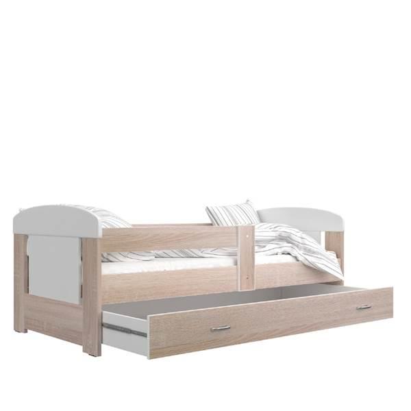 Łóżko - Filip (dąb sonoma) z materacem 160x80 cm, z szufladą