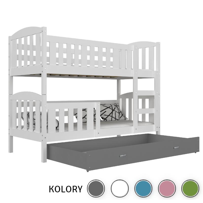 KUBUŚ - Łóżko piętrowe 2-os. 190x80 - korpus biały