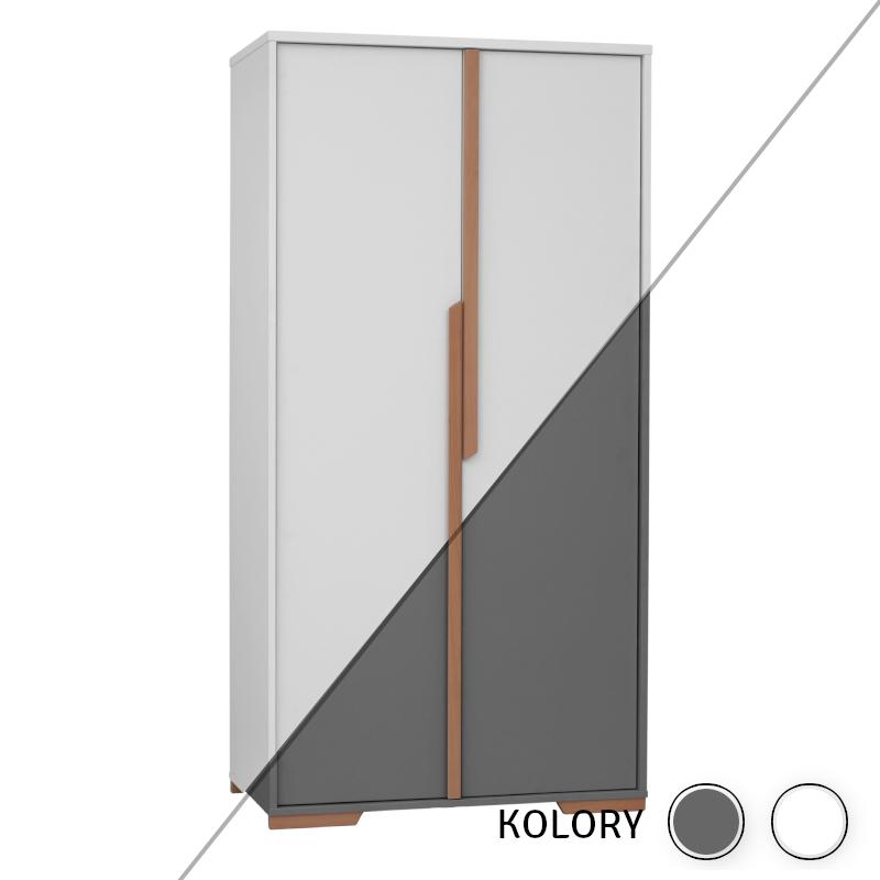 Snap - Szafa 2-drzwiowa - biała/szara