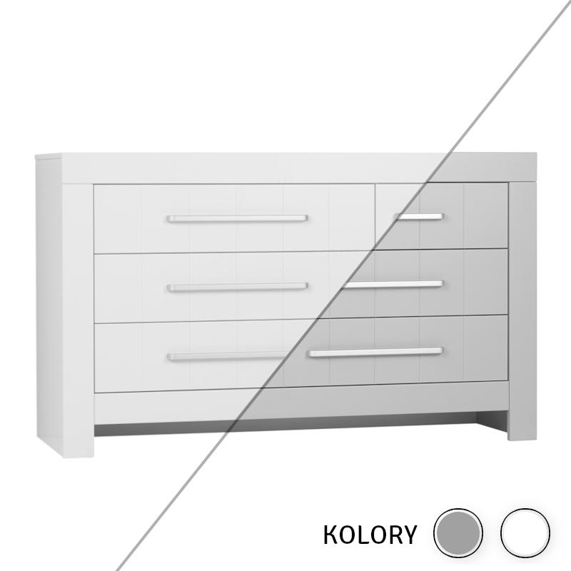 Calmo - Komoda 3 szuflady + szafka - biała/szara
